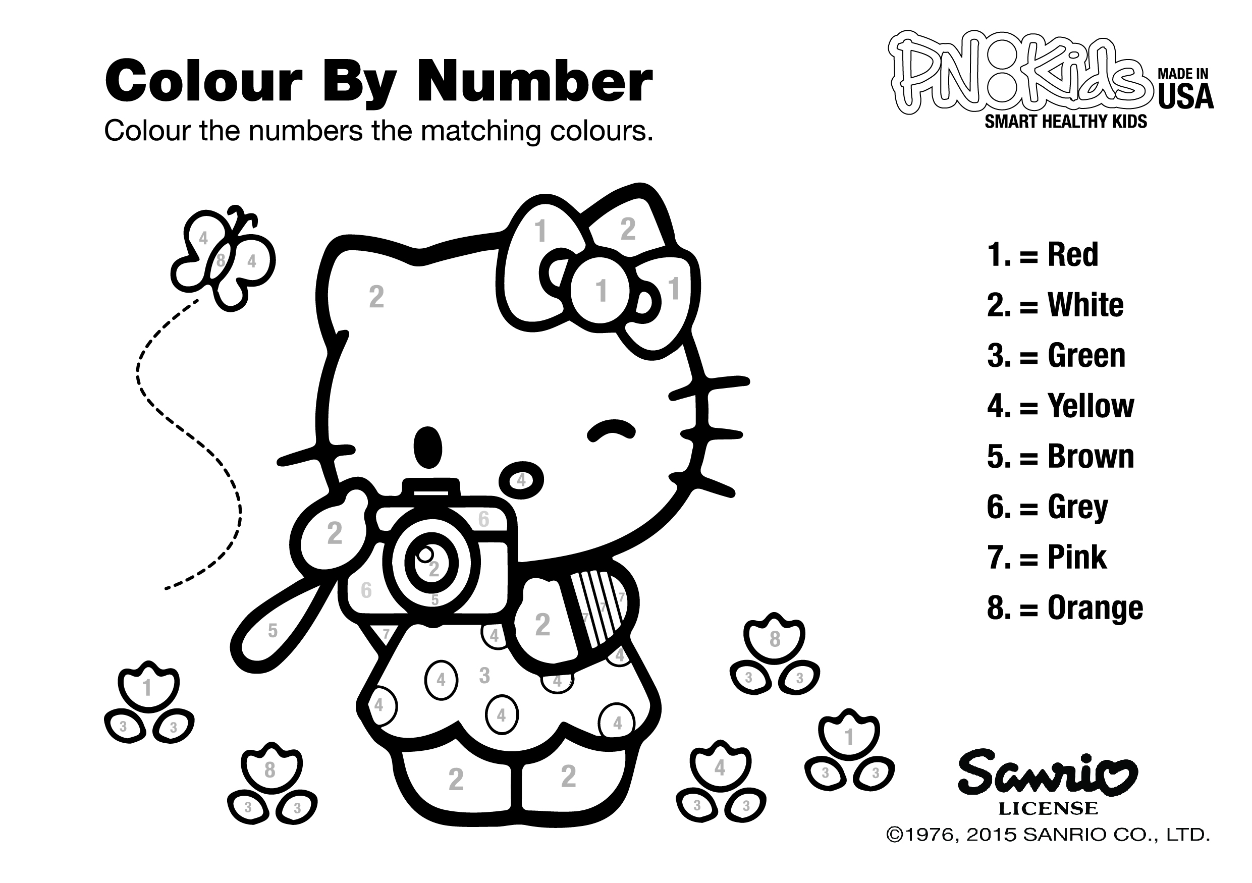 Hello Kitty Color By Numbers Coloring Pages