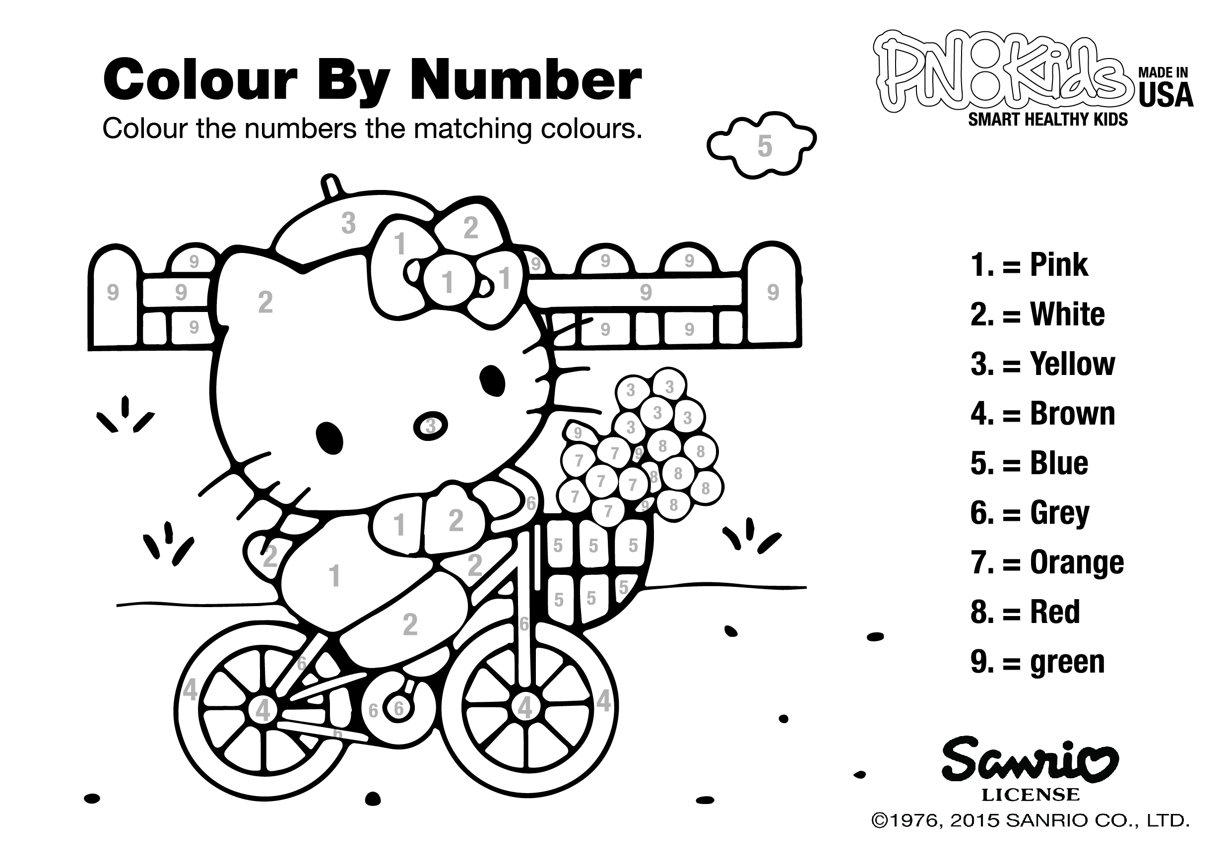 Hello Kitty Coloring Pages By Numbers : Play learn pnkidspnkids